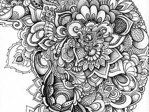 Мечтательный зентангл | Ярмарка Мастеров - ручная работа, handmade