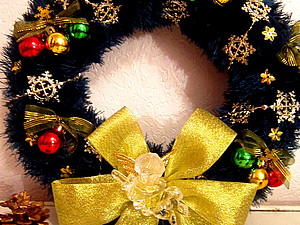 Вязаный Рождественский Венок | Ярмарка Мастеров - ручная работа, handmade