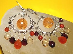 Аукцион на серебряные серьги с гранатом, цитрином, карнеолом и торазом! | Ярмарка Мастеров - ручная работа, handmade