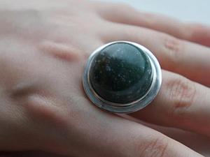 Аукцион!!!Кольцо из серебра 925 пробы и натурального авантюрина! | Ярмарка Мастеров - ручная работа, handmade