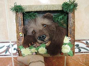 «Пробирается медведь сквозь лесной валежник...». Создаем из шерсти панно «Пробуждение». Ярмарка Мастеров - ручная работа, handmade.