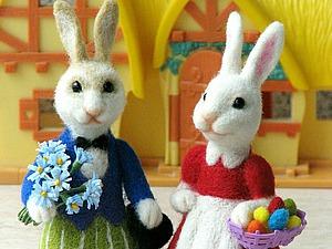 Валяем семейку пасхальных кроликов. Ярмарка Мастеров - ручная работа, handmade.