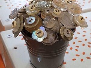 Создание интерьерного букетика из пуговиц   Ярмарка Мастеров - ручная работа, handmade