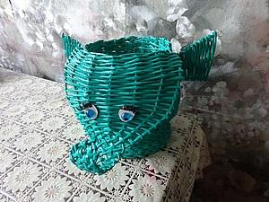 Плетение из газетных трубочек. Мини-прудик. Зелёный слонёнок. Багет для пазла.. Ярмарка Мастеров - ручная работа, handmade.