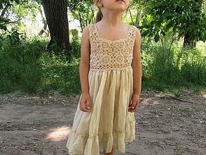Комбинированный сарафан для девочки «Барышня крестьянка». Ярмарка Мастеров - ручная работа, handmade.