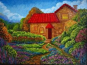 Аукцион на Пейзаж с Домиком | Ярмарка Мастеров - ручная работа, handmade