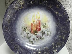 «Интерьерная тарелочка» обратный декупаж на стекле   Ярмарка Мастеров - ручная работа, handmade