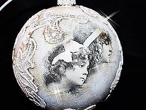 Москва! МК Наташи Фохтиной. Большой винтажный новогодний шар с тканным кружевом. Декупаж.   Ярмарка Мастеров - ручная работа, handmade