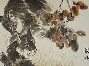 Две рыси под осенним деревом. | Ярмарка Мастеров - ручная работа, handmade