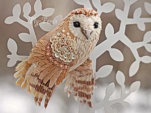 Шелковая брошь-сова (мастер-класс) | Ярмарка Мастеров - ручная работа, handmade
