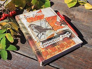 """Мастер-класс: осенняя обложка для блокнота """"с нуля"""". Ярмарка Мастеров - ручная работа, handmade."""