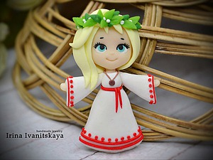Лепим брошь из полимерной глины: девочка в платье славянского стиля. Ярмарка Мастеров - ручная работа, handmade.