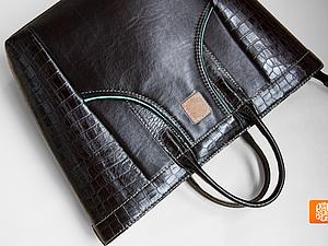 Большая черная кожаная сумка из серии Jungle ищет хозяйку! Продана | Ярмарка Мастеров - ручная работа, handmade