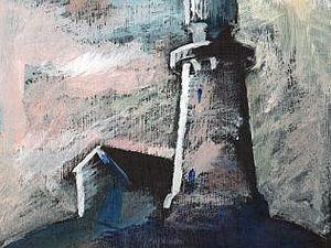 Пейзаж сухой кистью по черному грунту. | Ярмарка Мастеров - ручная работа, handmade