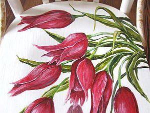 "Роспись стула ""Тюльпаны"". Ярмарка Мастеров - ручная работа, handmade."