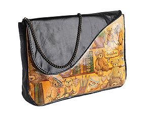 Женская сумка клатч с мишками.