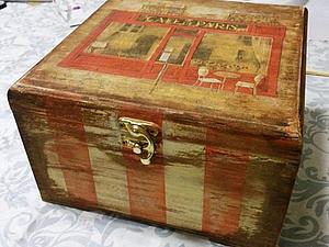 Новинка!!! «Милая Вещица», полосатая шкатулка с многослойным старением   Ярмарка Мастеров - ручная работа, handmade