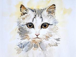 Пишем акварелью портрет «Котейка». Speed painting. Ярмарка Мастеров - ручная работа, handmade.