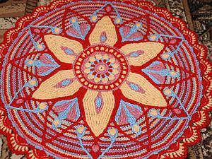 Вяжем крючком коврик-мандалу. Часть 4. Ярмарка Мастеров - ручная работа, handmade.