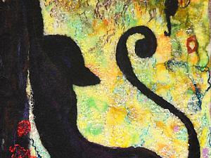 Создаем картину «Чёрная грация» из шерсти в технике мокрого валяния | Ярмарка Мастеров - ручная работа, handmade