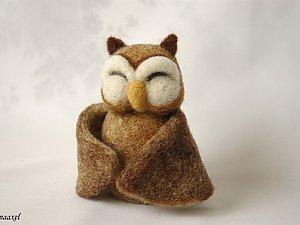 Войлочная игрушка Сова-обнимашка | Ярмарка Мастеров - ручная работа, handmade