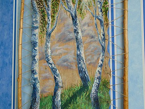 Рисуем пейзаж с березками маслом на бересте. Ярмарка Мастеров - ручная работа, handmade.