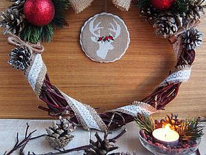 Создаем новогодний венок с вышитым медальоном за 15 шагов. Ярмарка Мастеров - ручная работа, handmade.