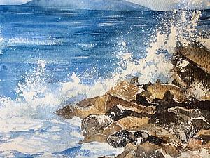 Рисуем морские брызги акварелью. Ярмарка Мастеров - ручная работа, handmade.