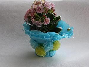 Делаем красивую упаковку для цветов в горшке. Ярмарка Мастеров - ручная работа, handmade.