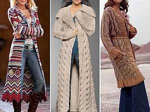 Вязаное пальто актуально как никогда, handmade