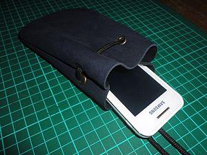 Кожаный мешочек для сотового | Ярмарка Мастеров - ручная работа, handmade