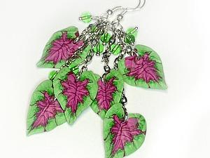 Создаем трость для листочка каладиума и сережки с этими листочками | Ярмарка Мастеров - ручная работа, handmade