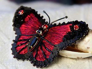 МК по  созданию броши-бабочки  в технике объемной вышивке. | Ярмарка Мастеров - ручная работа, handmade
