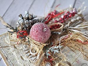 Морозная новогодняя эко-открытка | Ярмарка Мастеров - ручная работа, handmade