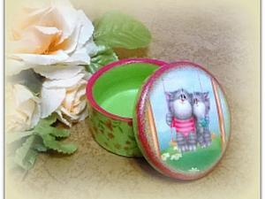 Декупаж маленькой шкатулочки с котятами | Ярмарка Мастеров - ручная работа, handmade
