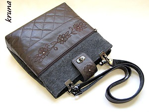 Шьем комбинированную сумку из кожи и фетра. Часть 2 | Ярмарка Мастеров - ручная работа, handmade