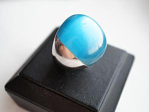 Аукцион!!! Кольцо из медицинской стали с большим небесно-голубым кошачим глазом! | Ярмарка Мастеров - ручная работа, handmade