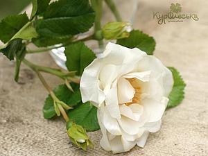 Белый шиповник из полимерной глины. Много фото. | Ярмарка Мастеров - ручная работа, handmade