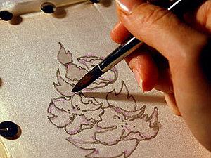Батик-открытка, Контурная техника | Ярмарка Мастеров - ручная работа, handmade