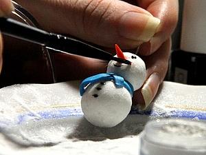 «Снежные» снеговички из полимерной глины: мастер-класс. Ярмарка Мастеров - ручная работа, handmade.