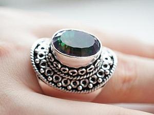 Аукцион!!!Кольцо посеребрение с мистик топазом!   Ярмарка Мастеров - ручная работа, handmade