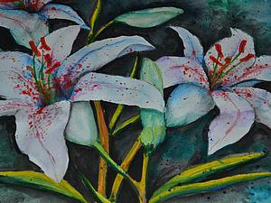 Рисуем лилии в смешанной технике: используем карандаши и акварель. Ярмарка Мастеров - ручная работа, handmade.