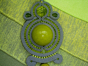 Кулон в технике сутажной вышивки. Ярмарка Мастеров - ручная работа, handmade.