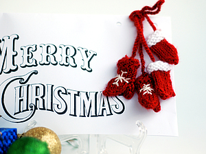 Варежки для оформления Новогодней Открытки или упаковки подарка, handmade