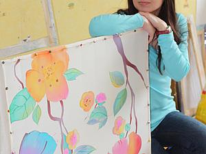 Мастер- класс по технике холодного батика платок 75х75 см Весна. Ярмарка Мастеров - ручная работа, handmade.
