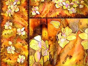 Дикие Орхидеи(шарф)180/40см.мастер Класс, роспись по батику от Виктории Игнатовой.. Ярмарка Мастеров - ручная работа, handmade.