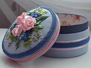 Вышиваем лентами чудесную шкатулку. Ярмарка Мастеров - ручная работа, handmade.