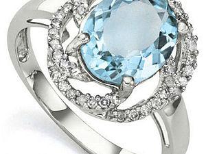 Закрыт   Аукцион с 0 руб! Золотое кольцо с BLUE TOPAZ и 40 бриллиантами | Ярмарка Мастеров - ручная работа, handmade