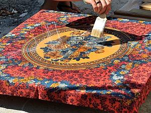 Новая жизнь старого платка, или Стол с платочной столешницей. Ярмарка Мастеров - ручная работа, handmade.