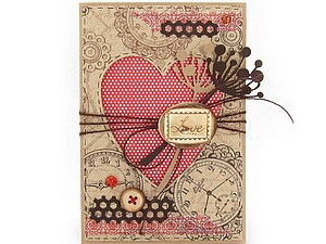 Открытка с окошком в форме сердца - Скрапбукинг | Ярмарка Мастеров - ручная работа, handmade